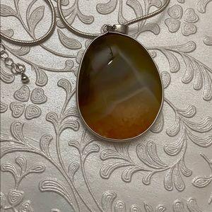 Jewelry - Genuine Agate Stone Pendant Necklace 30 inch